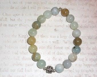 Aquamarine and sterling stretch bracelet