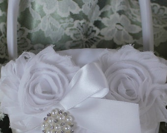 Ivory or White Satin Flower Girl Basket and  Shabby Chic Trim-U-Pick Colors