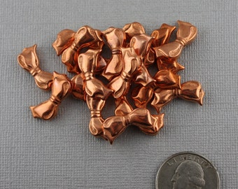 Nifty Metallic Plastic Vintage Copper Bow Beads 20mm