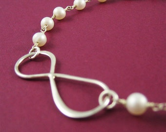 Silver Infinity Bracelet Pearl Jewelry Charm Bracelet Modern Jewelry Gift under 50 Bridal Jewelry Love Forever