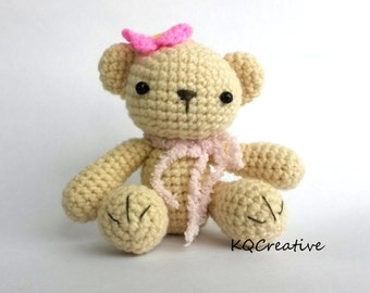 Crochet Amigurumi-Beige Teddy with Pink Flower and Scarf-Ready to Ship