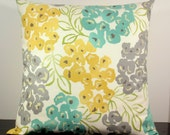 Floral decorative throw pillow cover Accent cushion slipcover 18 x18 in mustard gold yellow grey gray and teal.