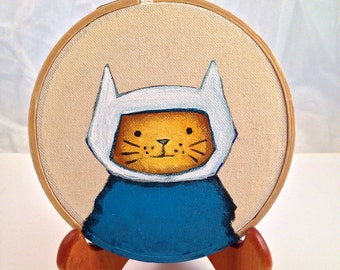 Adventure Time Finn the Human as Kitty Cat Original Acrylic painting on Embroidery 4inch round Hoop