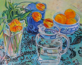 Large mixed media Still Life 30 inch by 40 inch oversized original painting by Polly Jones with free shipping