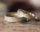 Gold wedding band set, yellow gold wedding ring set his and her, braided wedding band, wheat ring, 14k wedding band, gold braid ring