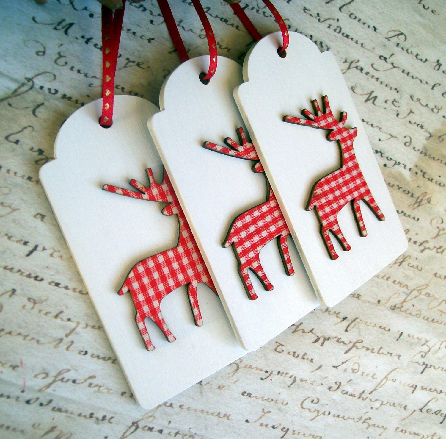 Wood reindeer gift tags rustic christmas ornaments white red