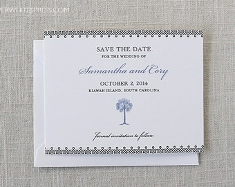 Printed Palmetto Tree Save the Dates, Palm Save the Dates, Beach Save the Dates, Tropical Save the Dates, Beach Wedding, Tropical Weddings