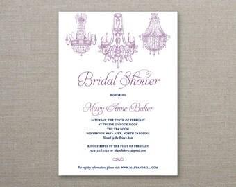 Chandelier Bridal Shower Invitation, Classic Elegant Bridal Shower - Deposit to Get Started