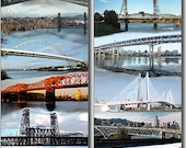 12 Portland Bridges in Color Digital Painting