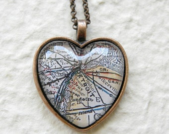 Detroit Map Necklace - Choose your favorite map from 25 map choices