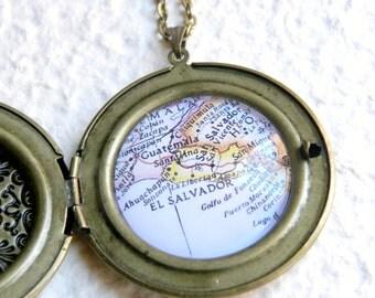 El Salvador Map Locket Necklace - Featuring San Salvador, San Vicente, Santa Ana, San Miguel, and more