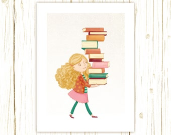 Library Girl 2 Art Print -- librarian, teacher, book, reader, geek, nerd, gift, girl, pink, orange, turquoise, aqua, cute, whimsical, blonde