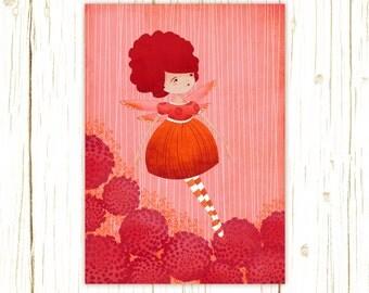 Children's Fairy Art - Dahlia Garden Fairy Art Print - Kids or Nursery Art Decor - Fantasy Art