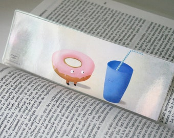 Cute donut and drink - illustrated bookmark