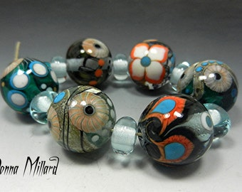 SRA HANDMADE LAMWPWORK Glass Beads Set Donna Millard lamp work teal turquoise orange garden winter lotus