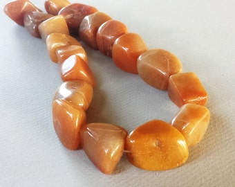 Carnelian Agate Nuggets, 20mm average, 15 inch strand
