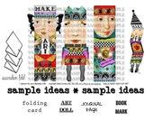 ART TEA LiFE Paper Doll Cards Collage Sheet digital file clip art decoupage journal invitation scrapbook card gift tag artist trading block