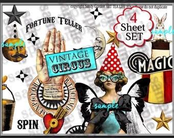ART TEA LIFE Vintage Circus Collage Sheet Set of 4 Scrapbook Journal Page decoupage card tag atb atc vintage photo