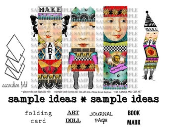 ART TEA LiFE Paper Doll Cards Collage Sheet digital file clip art decoupage journal invitation scrapbook card gift tag artist trading block