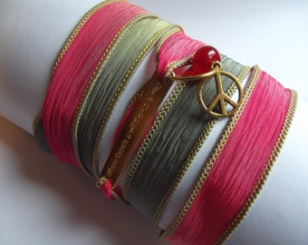 Where Theres A Will There Is A Way Red Orange Green Golden Inspiration Silk Wrap Ribbon Bracelet