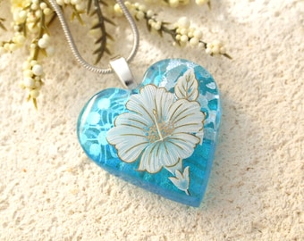 Hibiscus Flower Jewelry, Dichroic Necklace, Heart Pendant, Blue Glass Necklace, Hibiscus Heart Necklace, Fused Glass Jewelry, 032617p101