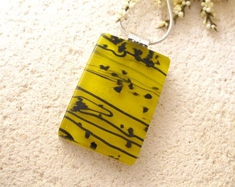 Yellow & Black Necklace - Dichroic Fused Glass Jewelry -  Fused Dichroic Glass Pendant - Yellow  Necklace - Fused Glass Jewelry 110714p104