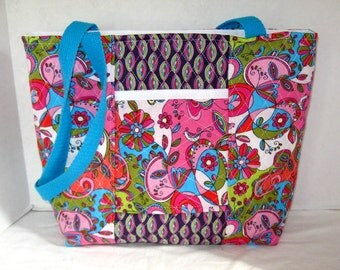 Quilted Paisley Purse - Birds Large Quilted Tote Bag - Groovy Handbag - Outside Pocket