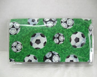 Checkbook Cover Soccer Cash Holder Works with Duplicate Checks