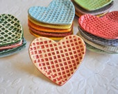 Have a Heart - Small Heart Shaped Trinket Dish/ Ring Dish in Peach and Red with Grid Pattern