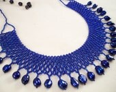 Modern Choker Royal Blue Freeform Freshwater Pearls Seed Beaded Bead Woven Statement Necklace