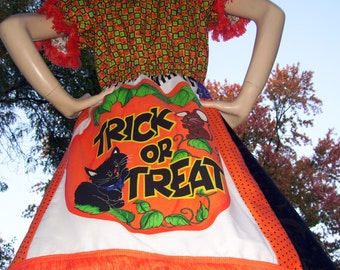 Halloween Dress Patchwork OOAK Trick or Treat Glow in Dark Jac o Lantern Costume Puff Sleeve Adult Geek Party Mom Sissy Dress Adult M L XL