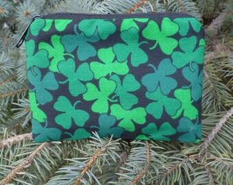 Irish coin purse, stitch marker pouch, gift card pouch, credit card case, Shamrocks, The Raven
