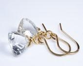 Clear Quartz Faceted Trillion Briolette Wire Wrap Gold Earrings