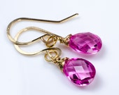 Pink Faceted Corundrum Pear Briolette Gold Earrings