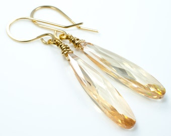 Champagne Cubic Zirconium CZ Teardrop Gold Earrings