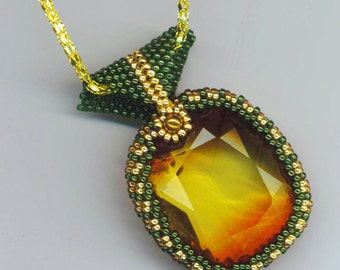 Rhinestone Pendant . Beadwoven Cabochon . Golden . Caramel Rhinestone . Moss Green Beadwork- Herbal Tea with Honey by enchantedbeads on Etsy