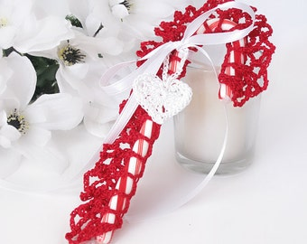 Christmas Red Lace Candy Cane Tree Ornament, Gift Topper, Candy Cane Holder, Crochet Heart Charm, Victorian Inspired Candy Cane Decoration