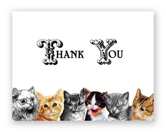 Thank You Cats Note Card Set of 12