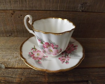 Adderly Bone China, Teacup and Saucer, Made in England, Pink Flowered Teacup, Tea Party, Shabby Table
