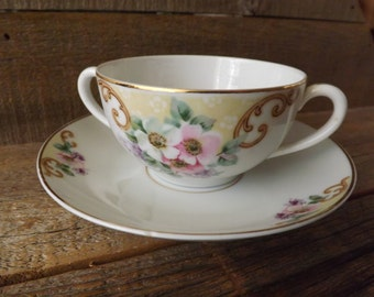 China Bouillon Cup, Vintage Soup Cup, Porcelain Soup Set, TK Thun Czechoslovakia, Cream Soup Set