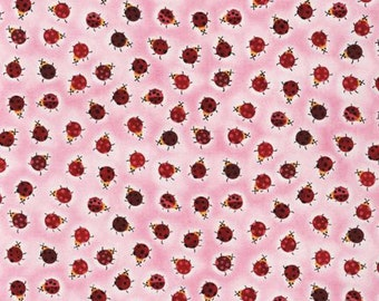 Robert Kaufman Fresh as a Daisy Ladybug Spring Pink Fabric - REMNANT Size 32 Inches by 44 Inches