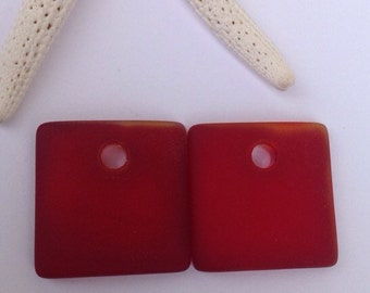 2 pcs(1 pair) 18 mm-sea glass beads,cultured seaglass-red drilled glass supply,square,beach glass,sea glass earrings-beach glass jewelry