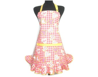 Retro Kitchen Apron for Women , Sugar Cookie Hearts , Peach Check with Yellow trim / Ruffle