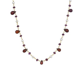 Garnet and White Freshwater Pearl Gemstone Necklace in 14k GF