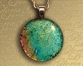 Fused Dichroic Glass Pendant, Dichroic Glass Pendant, Dichroic Jewelry - Natures Stillness - O160
