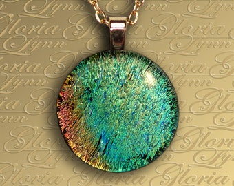 Fused Dichroic Glass Pendant, Dichroic Glass Pendant, Dichroic Jewelry - Natures Stillness - O160