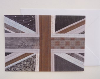 Printed Art Card - London Fog - Grey / Gray Patchwork Union Jack Detail