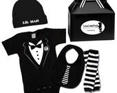 Baby Boy Rockstar Kit black romper one piece layette leg warmers hat Tuxedo Little Man leg warmers Tie Bib