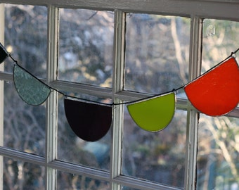 Reclaimed Glass Scallop Garland - Banner - Sun Catcher -