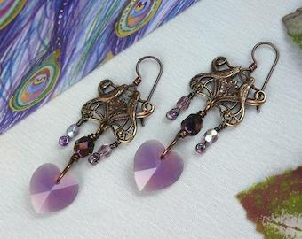 Love Birds Earrings ~ Vintage Bird Earrings ~ Bird Earrings ~ Swarovski Crystal Heart Earrings ~ Heart Chandelier Earrings ~ Vintaj Brass